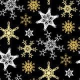 Nahtloses Muster des Weihnachtsvektors mit Schneeflocken im goldenen colo vektor abbildung