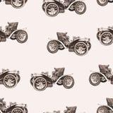 Nahtloses Muster des Weinleseautos, alte Retro- Zeichnungsmaschine, Karikaturvektorhintergrund, einfarbig Illustration in Art Sep lizenzfreie abbildung
