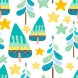 Nahtloses Muster des Winters mit einem Weihnachtswald vektor abbildung