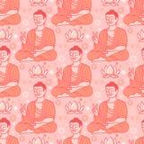 Nahtloses Muster des Yoga mit Buddha und Lotos Stockfoto