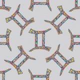 Nahtloses Muster des Zwillingssternzeichens Magischer Symbolhintergrund des Horoskops Hand gezeichnete astrologische bunte Bescha Lizenzfreies Stockfoto