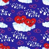 Nahtloses Muster die Herzen auf einer Wolke Auch im corel abgehobenen Betrag Lizenzfreies Stockbild