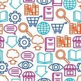 Nahtloses Muster Digital-Bibliothek E-Bücher, Lesung und Downloading Stockbild