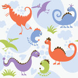 Nahtloses Muster, Dinosaurier Lizenzfreies Stockbild