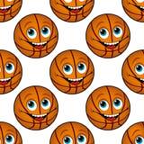 Nahtloses Muster eines glücklichen Karikaturbasketballs Lizenzfreie Stockfotos