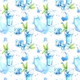 Nahtloses Muster eines Glases Cocktails und Eises Bild eines alkoholischen Getränks lizenzfreie abbildung