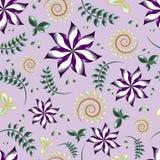 Nahtloses Muster eines Purpurs blüht mit den grünen und gelben Blättern und verzweigt sich Hintergrundelemente vektor abbildung