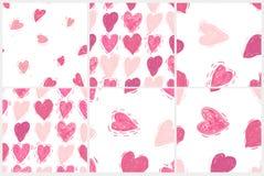 Nahtloses Muster eingestellt mit Herzen Rosa Herz zwei vektor abbildung