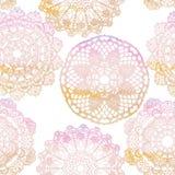 Nahtloses Muster Elegante Spitzen- Aquarell Doilies Stockbild