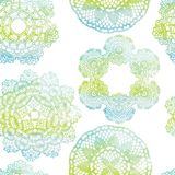 Nahtloses Muster Elegante Spitzen- Aquarell Doilies Lizenzfreie Stockbilder