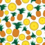 Nahtloses Muster eps10 der bunten Ananasfrüchte und der halben Früchte Stockfotografie