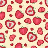 Nahtloses Muster Erdbeeren ganz und geschnitten vektor abbildung
