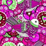 Nahtloses Muster für Design im Stil der Gekritzel der Kinder Blumen Vogel, Herz, Lizenzfreies Stockfoto