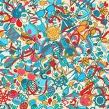 Nahtloses Muster für Design im Stil der Gekritzel der Kinder Karikaturfeiertag durch das Meer Lizenzfreie Stockfotografie