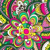 Nahtloses Muster für Design im Stil des children& x27; s-Gekritzel Blumen in allen Einzelheiten Stockfotos
