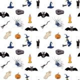 Nahtloses Muster für Halloween Weißer Hintergrund Vektor lizenzfreie abbildung