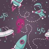Nahtloses Muster für UFO Stockfotos