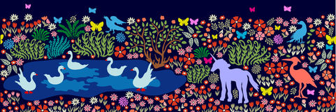 Nahtloses Muster für Wandbild und Freskos Fantasievögel und -tiere in dar Lizenzfreie Stockfotos