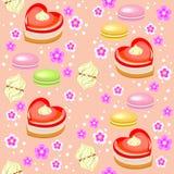 Nahtloses Muster Feiertagskuchen in Form von Herzen, Erdbeere, Eibischen und Blumen Passend als Geschenkverpackung f?r lizenzfreie abbildung