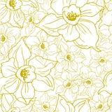 Nahtloses Muster Ffloral mit Konturen von Blumen Narzissen stockbilder