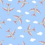 Nahtloses Muster Flugzeug im Himmel Flache Art Stockfoto