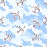Nahtloses Muster Flugzeug im Himmel Flache Art Lizenzfreie Stockbilder