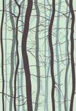Nahtloses Muster Forest Branchess Nebeln Sie im Frühjahr, Baum-Vektorillustration des Winters bloße ein Stockbild
