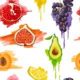 Nahtloses Muster Früchte mit Aquarell spritzt Lizenzfreie Stockfotografie