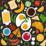 Nahtloses Muster Frühstück Vektor Abbildung