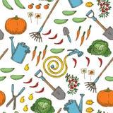 Nahtloses Muster Garten-Werkzeuge, Früchte, Gemüse lizenzfreie abbildung