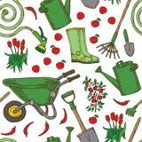 Nahtloses Muster Garten-Werkzeuge und Gemüse lizenzfreie abbildung