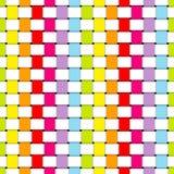 Nahtloses Muster geflochtene Papierstreifen-Regenbogen-Farben und Weiß stock abbildung