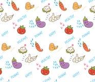 Nahtloses Muster Gemüsegekritzels Kawaii lizenzfreie abbildung