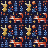 Nahtloses Muster gemacht mit Fuchs, Kaninchen, Hase, Blumen, Tiere, Anlagen, Herzen Stockfotografie