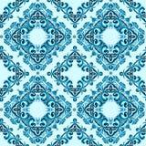 Nahtloses Muster gemacht vom abstrakten blauen Element lizenzfreie abbildung