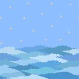 Nahtloses Muster gemacht vom Himmel mit Sternen und Wolken lizenzfreie abbildung