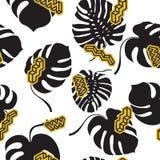 Nahtloses Muster gemacht von den Monstera-Blättern Stockfotografie