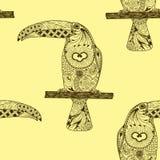 Nahtloses Muster gemacht von mit Hand gezeichneten Tukanen lizenzfreie abbildung