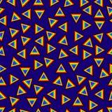 Nahtloses Muster geometrisch mit Dreiecken im Mischbestellungsregenbogen gefärbt plus schwarzer vibrierender blauer Hintergrund m Stockfotos