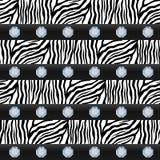 Nahtloses Muster Gestreiftes Zebra, Edelsteine Lizenzfreies Stockfoto