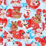 Nahtloses Muster glücklicher großer Fische Maneki Neko Stockfoto