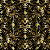 Nahtloses Muster Gold-Paisleys Vektorblumendrapierung 3d backgrou Lizenzfreie Stockfotografie
