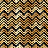 Nahtloses Muster goldenen schwarzen Streifens Chevrons Lizenzfreies Stockfoto