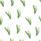Nahtloses Muster Grünes Gras mit den kleinen blauen Narzissenblumen lokalisiert auf Weiß Auch im corel abgehobenen Betrag Stockbild