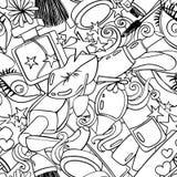 Nahtloses Muster Grahic von Schönheits-dekorativen Kosmetik lizenzfreie abbildung