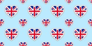 Nahtloses Muster Großbritannien-Flagge Vector die Flaggen Vereinigten Königreichs stikers Liebesherzsymbole Englischkurse, Sports lizenzfreie abbildung