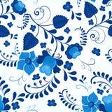 Nahtloses Muster Gzhel-Art Stockfoto