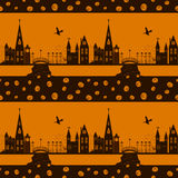 Nahtloses Muster Halloween-Karte mit Hexe, Kürbis und Stadt Stockfoto
