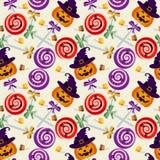 Nahtloses Muster Halloween-Lutschers stock abbildung