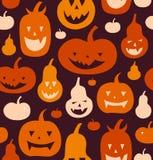 Nahtloses Muster Halloween-Vektors Dekorativer Hintergrund mit lustigen Zeichnungskürbisen Nette Schattenbilder lizenzfreie abbildung
